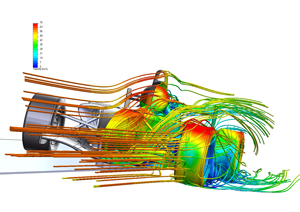 Formule raceauto aerodynamische stromingssimulatie (CFD) in FloEFD