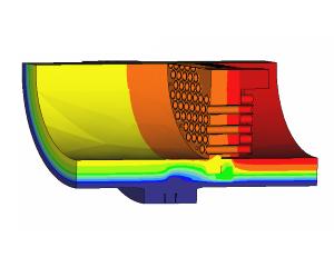 CFD calculation temperatures in reactor vessel