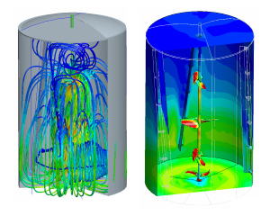 CFD simulation flow in tank with agitator