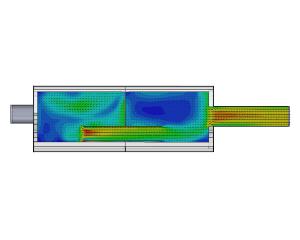 CFD-simulatie stroming door uitlaatdemper