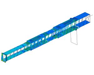 FEA simulation stresses and fatigue passenger bridge