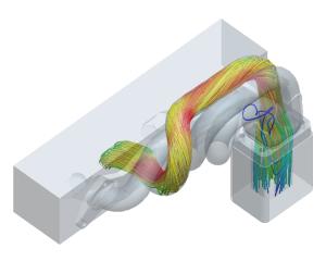 CFD-analyse stroming door uitlaatspruitstuk