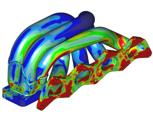 Thermal stresses manifold (coupled CFD-FEM simulation)