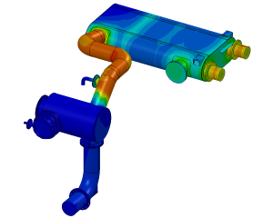 Calculating pressure drop and temperature exhaust system using CFD