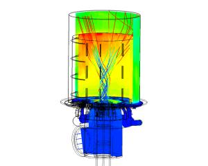 CFD-analyse luchtstroming door industriële brander