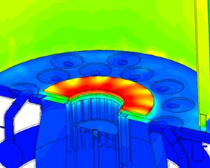 CFD simulation temperature in an industrial burner