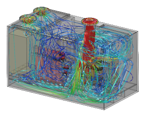 CFD analysis flow and cooling generator unit