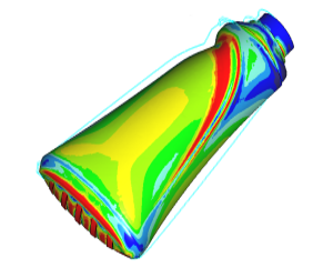 Analysing bulging bottle using overpressure using FEA